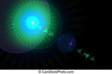 abstrakt, spacescape, lichtgeschwindigkeit, und, linse, flare.big, linsenleuchtsignal, mit, stern, effects.spread, abstrakt, digital, linsenleuchtsignal, licht, und, farbenfreudiges licht