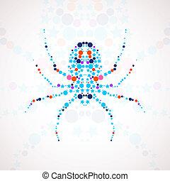 abstrakt, spindel, tecknad film