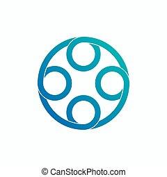 abstrakt, spiral, logo, cirkel, vektor, design.