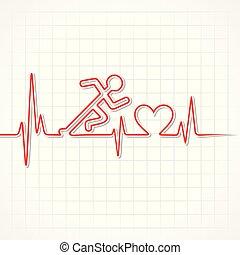 abstrakt, spring, vektor, hjärtslag, man, block