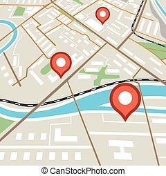 abstrakt, stad kartlagt, med, röd, nålen