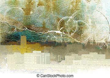 abstrakt, stad