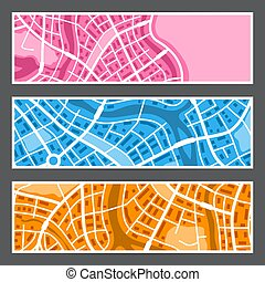 abstrakt, stadtlandkarte, banners.