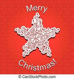 abstrakt, stjärna, jul, röd, snöflinga