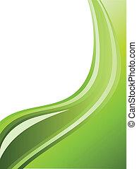 abstrakt, striber, space., bølgede, grøn baggrund, kopi