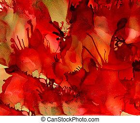 abstrakt, strukturerad, tentakler, mull, grön röd