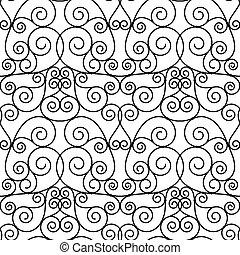 abstrakt, svart, openwork, metall, imiterad, seamless
