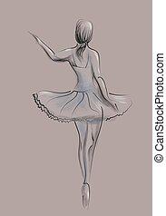 abstrakt, tänzer, ballett