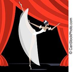 abstrakt, tänzer, ballett, weißes