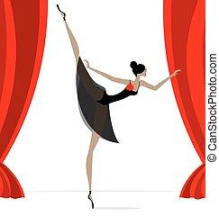 abstrakt, tänzer, schwarz, ballett