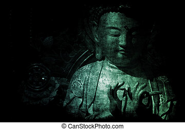 abstrakt, tapet, tempel, bakgrund, kinesisk
