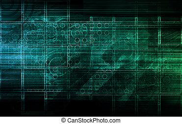 abstrakt, technologie