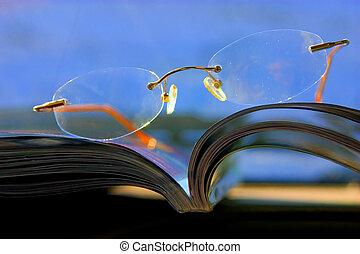 abstrakt, -, tidskrift, glasögon