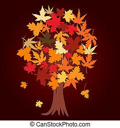 abstrakt, træ, hos, efterår forlader