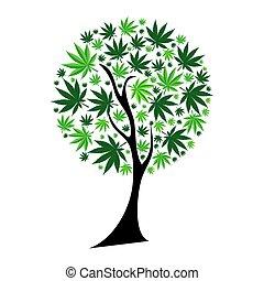 abstrakt, træ, illustration, cannabis, vektor, baggrund