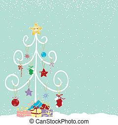abstrakt, træ, jul, farverig