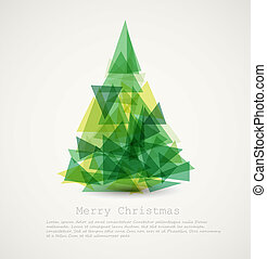 abstrakt, træ, vektor, grønne, card christmas