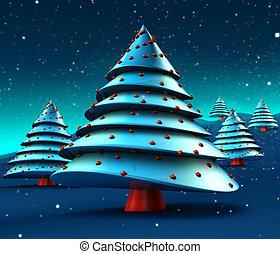 abstrakt, træer christmas, konstruktion