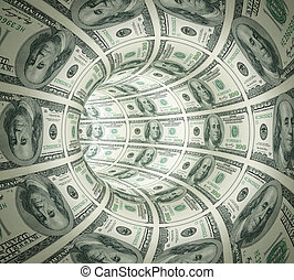 abstrakt, tunnel, gjord, av, pengar.