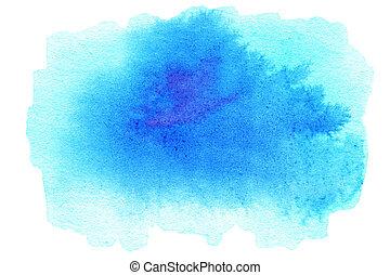 abstrakt, turkos, vattenfärg, bakgrund., färgrik, blå tåra, färg, konst, hand, paint., plaska, akvarell, struktur