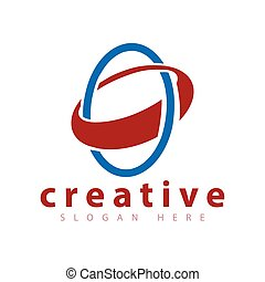 abstrakt, två, vektor, mall, logo, cirkel, ikon