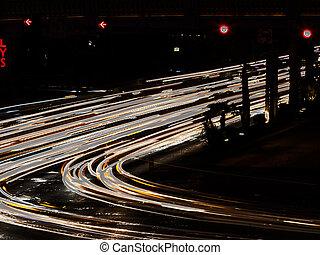 abstrakt, udsigter, i, lys, hos, vej