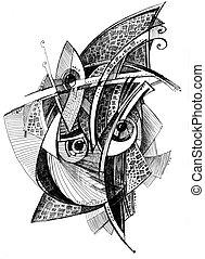 abstrakt, ungewöhnlich, bleistift zeichnen