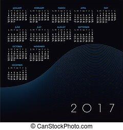abstrakt, vågig förfaringssätt, kalender, 2017