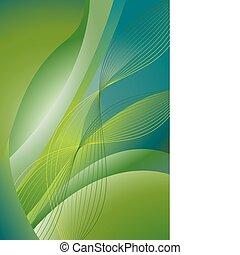 abstrakt, vågig, grön fond