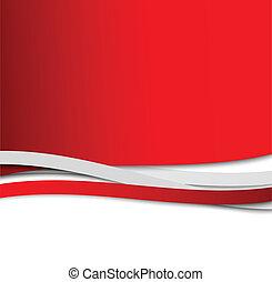 abstrakt, vågig, röd fond
