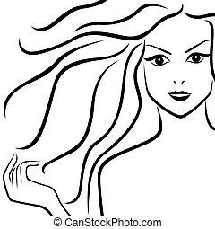 abstrakt, vacker, flicka, med, förbundet hår