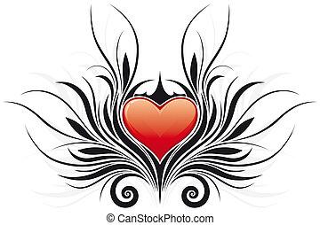 abstrakt, valentine\'s, tag, herz, tatto