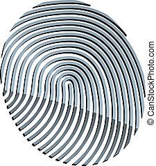 abstrakt, vektor, 3d, fingerabdruck