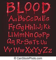 abstrakt, vektor, alphabet., blod, röd
