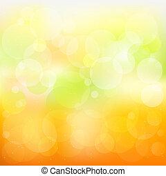 abstrakt, vektor, apelsin, och, gul fond