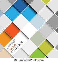 abstrakt, vektor, baggrund, kvadraterer, illustration