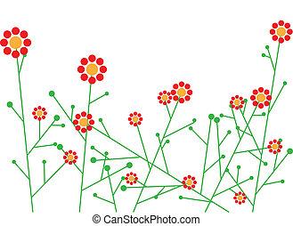 abstrakt, vektor, blomningen