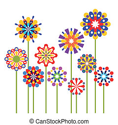 abstrakt, vektor, blomningen, färgrik