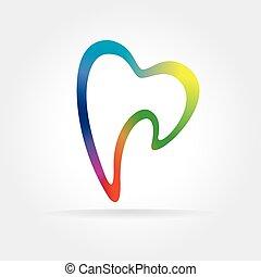 abstrakt, vektor, dantist, tand, ikon, isoleret, på hvide,...