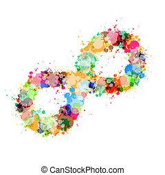 abstrakt, vektor, färgrik, fläck, plaska, oändlighet, symbol