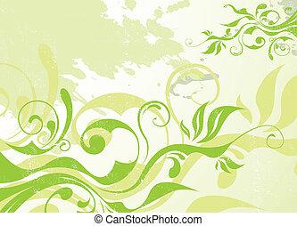 abstrakt, vektor, grønne, sommer, baggrund