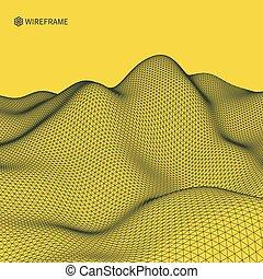 abstrakt, vektor, landskap, bakgrund., cyberspace, grid., 3,...