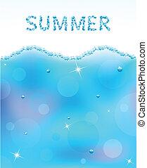 abstrakt, vektor, vatten, våg, med, bubblar