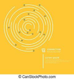 abstrakt, vernetzung, anschluss, kreise, linien, und, knoten, auf, gelber , hintergrund.