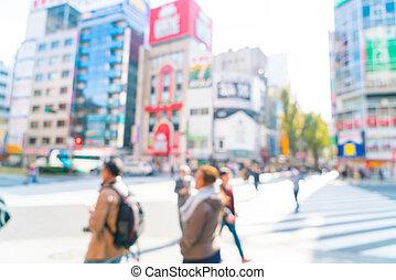 abstrakt, verwischen, an, shinjuku, in, tokyo, stadt
