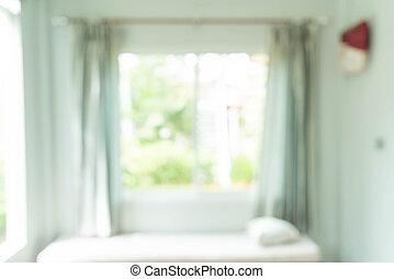 abstrakt, verwischen, vorhang, innenausstattung, in, wohnzimmer