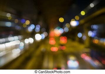abstrakt, verwischt, bokeh, hintergrund, von, auto- licht, auf, straße, stadt