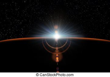 abstrakt, videnskabelige, baggrund, -, glødende, planet.