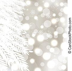 abstrakt, vinter, glödande, bakgrund, med, fur-tree