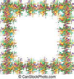 abstrakt, vit fond, färgrik, ram